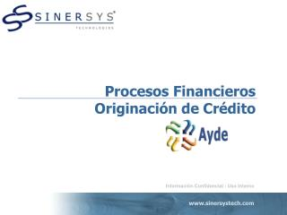 Procesos Financieros Originaci n de Cr dito
