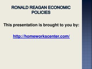 RONALD REAGAN ECONOMIC POLICIES