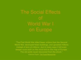 The Social Effects  of  World War I  on Europe