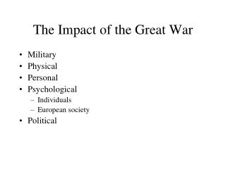 The Impact of the Great War