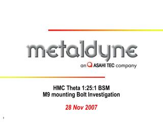 HMC Theta 1:25:1 BSM M9 mounting Bolt Investigation
