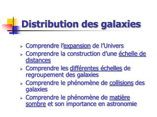 Distribution des galaxies