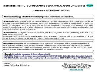 Contact: Assoc. Prof. Dr.-Eng. K. Kostadinov