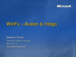 WinFx – Avalon & Indigo
