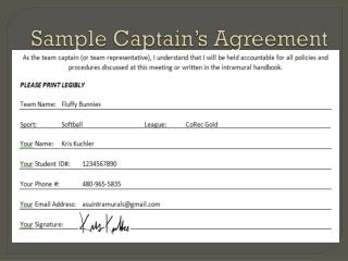 Sample Captain�s Agreement