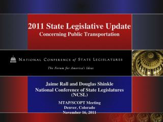 2011 State Legislative Update Concerning Public Transportation
