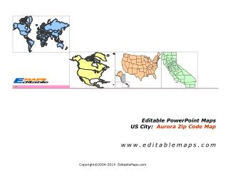 Editable PowerPoint Maps  US City:   Aurora Zip Code Map