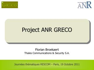 Project ANR GRECO