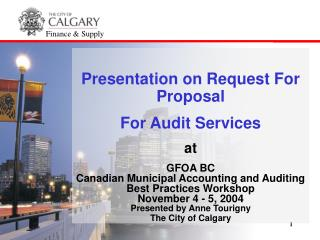 Presentation on Request For Proposal  For Audit Services at  GFOA BC