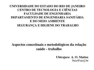 Aspectos conceituais e metodol�gicos da rela��o sa�de - trabalho Ubirajara  A. O. Mattos