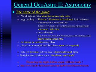 General GeoAstro II: Astronomy