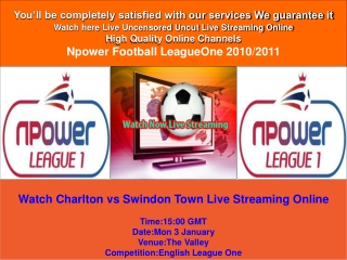 Charlton vs Swindon Town LIVE STREAM ONLINE TV SHOW