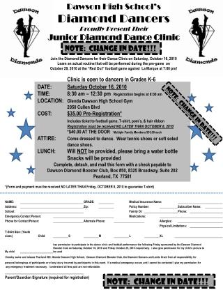 Dawson High School's  Diamond Dancers Proudly Present Their  Junior Diamond Dance Clinic