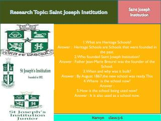 Research Topic: Saint Joseph Institution