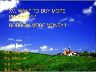 XV. WANT TO BUY MORE PROPERTY? BORROW MORE MONEY!!