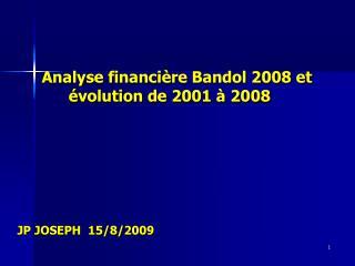 Analyse financière Bandol 2008 et              évolution de 2001 à 2008 JP JOSEPH  15/8/2009