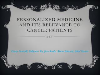 personalized  medicine  and it's relevance  to cancer  patients