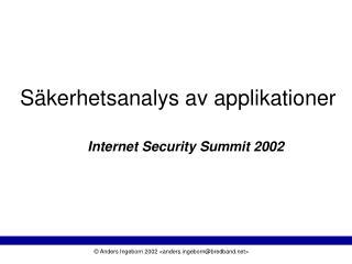 S�kerhetsanalys av applikationer