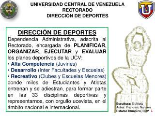 UNIVERSIDAD CENTRAL DE VENEZUELA RECTORADO DIRECCI N DE DEPORTES