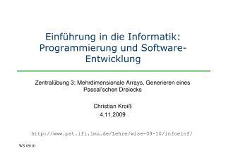 Einführung in die Informatik: Programmierung und Software-Entwicklung