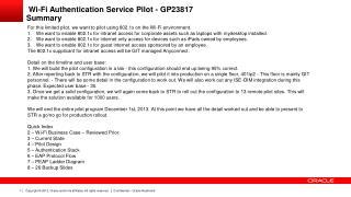 Wi-Fi Authentication Service Pilot - GP23817 Summary