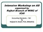 Intensive Workshop on AS organised by Rajkot Branch of WIRC of ICAI