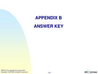 APPENDIX B ANSWER KEY