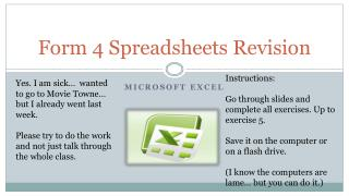 Form 4 Spreadsheets Revision