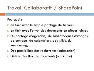Travail Collaboratif / SharePoint