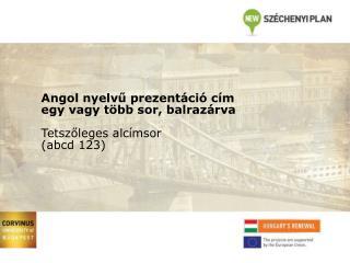 Angol nyelvű prezentáció cím egy vagy több sor, balrazárva