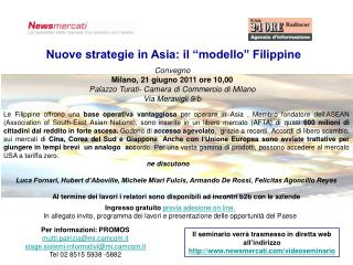 """Nuove strategie in Asia: il """"modello"""" Filippine"""