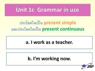 Unit 1c  Grammar in use