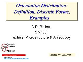 Orientation Distribution: Definition, Discrete Forms, Examples