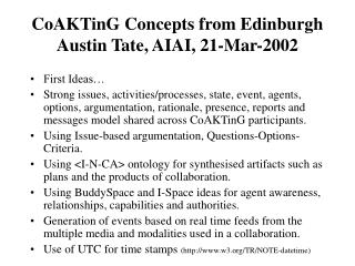 CoAKTinG Concepts from Edinburgh Austin Tate, AIAI, 21-Mar-2002