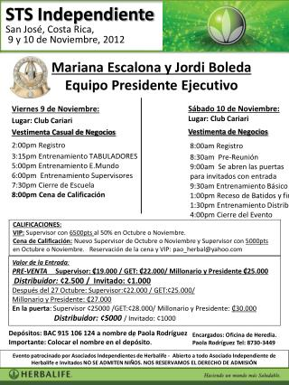 Sábado  10  de  Noviembre:  Lugar :  Club  Cariari e  Negocios Vestimenta  de  Negocios