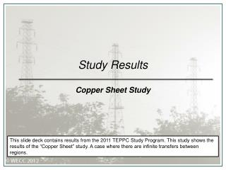 Study Results Copper Sheet Study
