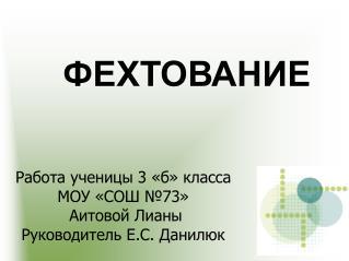 Работа ученицы 3 «б» класса  МОУ «СОШ №73»  Аитовой Лианы Руководитель Е.С. Данилюк