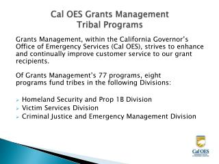 Cal OES Grants  Management  Tribal  Programs