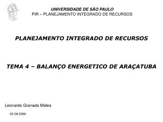 TEMA 4 – BALANÇO ENERGETICO DE ARAÇATUBA