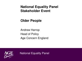 National Equality Panel