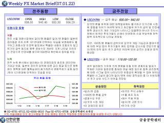 ◆  USD/KRW ☞  금주 예상 :  930.00~ 942.00 당국의 환율 하락에 대한 대책발표에도 불구하고 단기간에 시장
