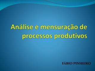 Análise e mensuração de processos produtivos