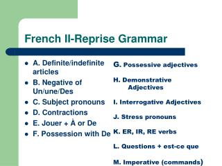 French II-Reprise Grammar