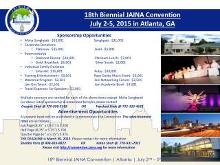 18th Biennial JAINA Convention   July 2-5, 2015 in Atlanta, GA