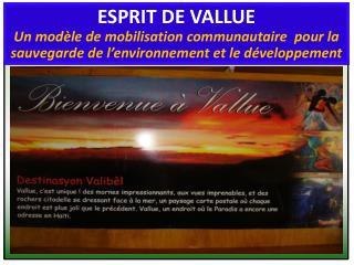 Qu'est-on entend par «esprit de Vallue»?