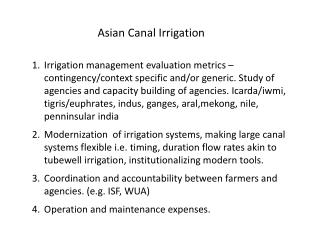 Asian Canal Irrigation