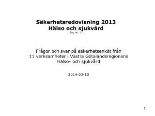 Säkerhetsredovisning 2013  Hälso och sjukvård Lång ver. 1.0