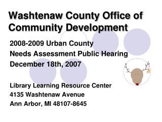 Washtenaw County Office of Community Development