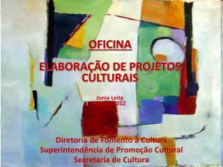 OFICINA ELABORAÇÃO DE PROJETOS CULTURAIS Junia Leite Março/2012