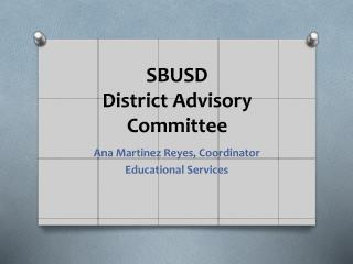 SBUSD  District Advisory Committee